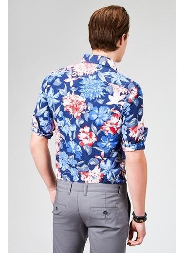 Avva Çiçek Desenli Uzun Kollu Gömlek Lacivert